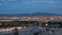Dusk To Night Time Lapse With Zoom In Towards McCarran Airport In Las Vegas Stock Footage
