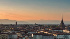 Turin city skyline time lapse from day to night zoom out Stock Footage