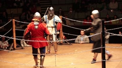 Medieval knight fighting, reconstruction of medieval battles. Full contact Stock Footage