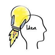 Big idea design. Creative icon. draw illustration , vector - stock illustration