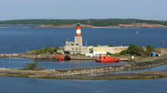 Island Lighthouse Carmi in the Baltic Sea near Helsinki Stock Footage