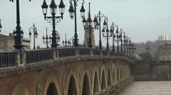 Gothic streetlights on Aquitaine bridge in Bordeaux, France, quiet European city Stock Footage