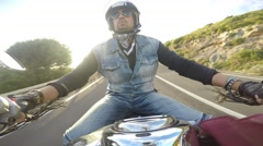 biker riding a classic motorcycle - stock footage