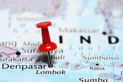 Lombok pinned on a map of Indonesia Stock Photos