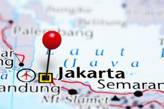 Jakarta pinned on a map of Indonesia Stock Photos