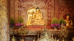 Phra Singh buddha statues  ,Chiangmai Thailand. (dolly shot) - stock footage