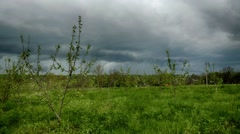 Countryside timelapse. Bright sunny day. Moving clouds from left to right Stock Footage