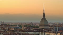 Turin skyline at sunset close up on mole antonelliana Stock Footage