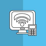 Technology design. computer icon. colorful illustration , vector - stock illustration