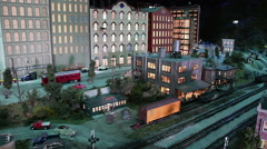 Model Trolley and Cityscape Stock Footage
