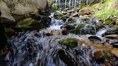 Stones and rocks covered by moss along water stream flowing through green summer - stock footage
