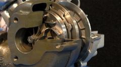 Diesel engine working turbocharger loop Stock Footage