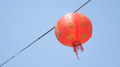 Old Chinese red lanterns with blue sky Stock Footage