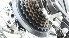 Smooth panning scene of Bicycle part Stock Footage