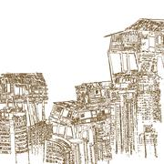 Drawing of wooden house on high building on white background Stock Illustration