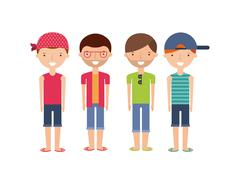 Young people on summer vacation design - stock illustration