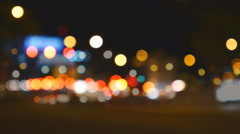 De-focused of night street traffic Stock Footage