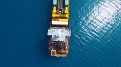 Aerial footage of Container and general cargo ship Stock Footage