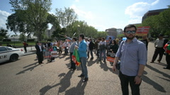 Hazaras Afghan Minority Protest at White House 8 Wide Angle Pan Stock Footage