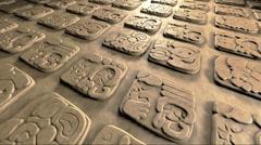 old mayan hieroglyphics loop 3d animation - stock footage