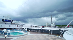 cloudy weather over the deck of advanced ship - stock footage