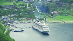 Large ship port in the Norwegian fjord Stock Footage