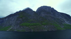 Movement along the rocky Norwegian fjord Stock Footage