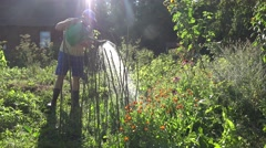 Young farmer man guy in shorts and gumboots water peas plants with watering can Stock Footage