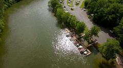 Aerial-Decending shot of Campground and Boat Dock Stock Footage