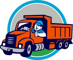 Dump Truck Driver Thumbs Up Circle Cartoon. Piirros