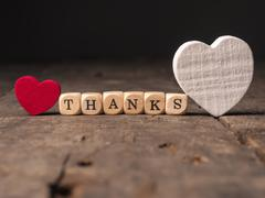 Thanks with two heart shapes Stock Photos