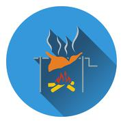 Icon of roasting meat on fire - stock illustration