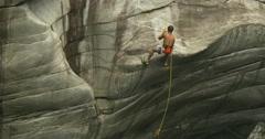 Climbing wall canyon Stock Footage
