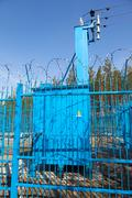 Transformer station closed fence - stock photo