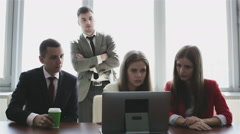 Working discussions are in the office design agency. - stock footage