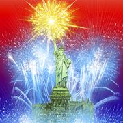 Beautiful colorful holiday fireworks over The Statue of Liberty. Piirros