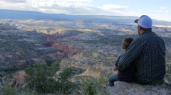 Father and son looking over a canyon together Stock Footage