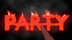 Party hot text brand branding iron metal flaming heat flames overlay 4K - stock footage