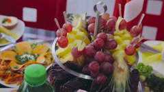 Fruits for cocktail party. Catering Stock Footage