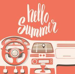 Hello Summer. Hand drawn typography. Vector illustration - stock illustration