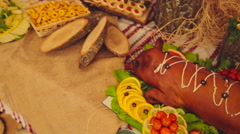 Banquet. The food at the wedding table. Meat, snacks and drinks. Stock Footage