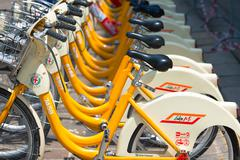 MILAN, ITALY - JUNE,1, 2016:  .Bicycle commonly used in the appropriate space - stock photo