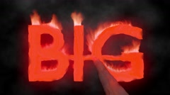 Big hot text brand branding iron metal flaming heat flames overlay 4K - stock footage
