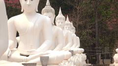 Beautiful white Buddha Temple Wat Bung Khi Lek. Stock Footage