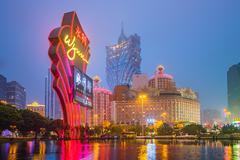 Casino Building skyline night in Macau Stock Photos