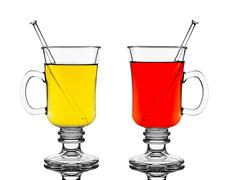 Two glasses with red and yellow hot wine Stock Illustration