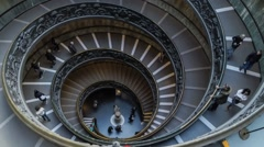 Time lapse with tourists descend the modern double helix staircase. Vatican city - stock footage