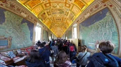 Tourists visiting the Gallery of Maps in the Vatican Museum Stock Footage