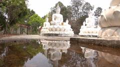 Temple Wat Bung Khi Lek reflection Buddha statue. Stock Footage