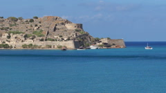 Landscape, nature, splendid view to spinalonga island near Crete. Stock Footage